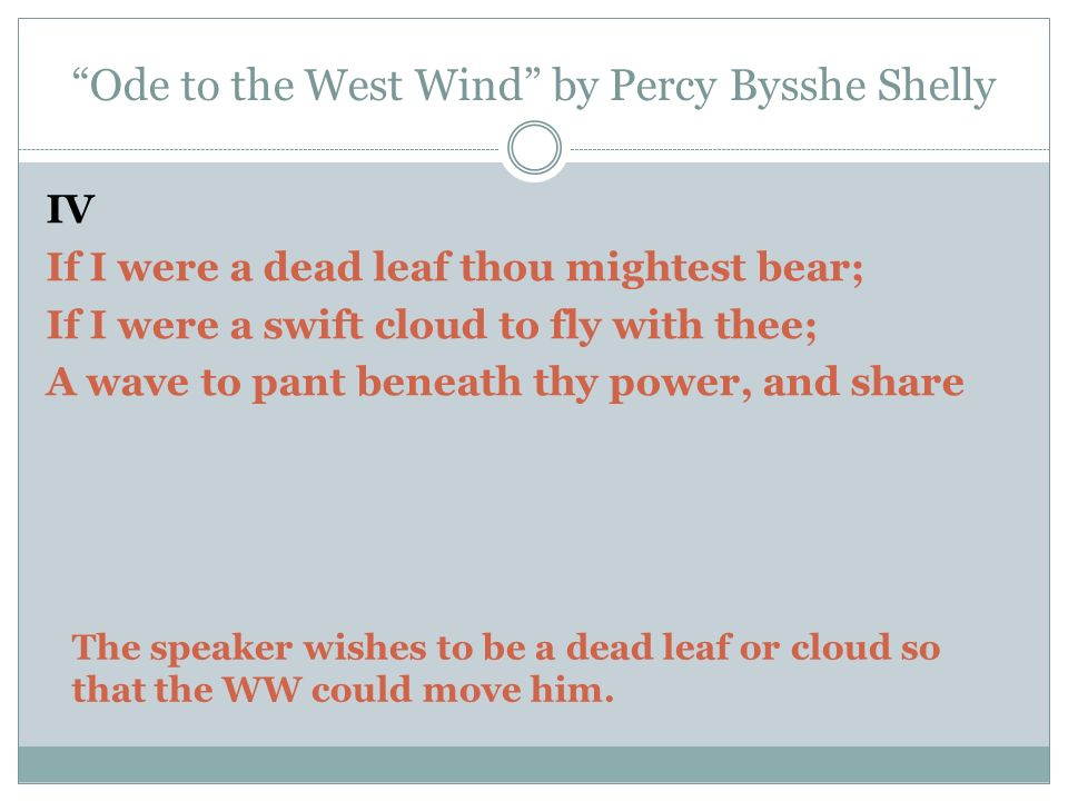 An analysis to the ode to the west wind by percy bysshe shelley