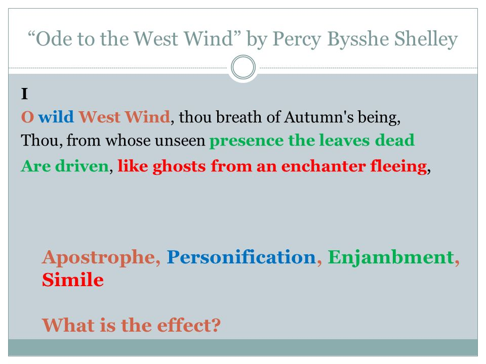 ode to the west wind thesis Ode to the west wind is a poem by percy bysshe shelley that shows the correspondence between the inner and the outer world of.