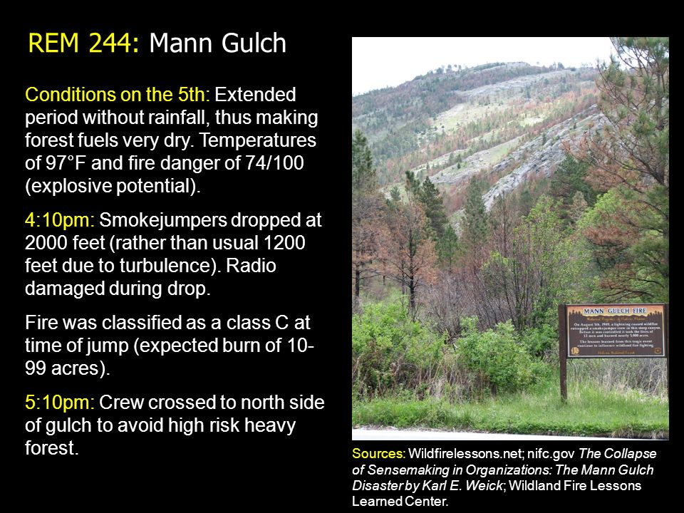 the mann gulch disaster case Sensemaking and school failure: lessons from two cases this case study analysis advances a preliminary framework for analysis of the mann gulch disaster.