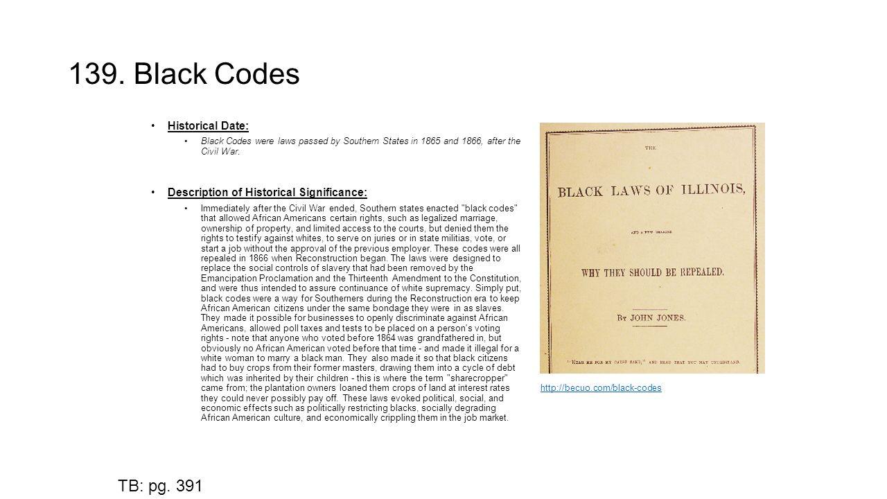 Black Codes Enacted