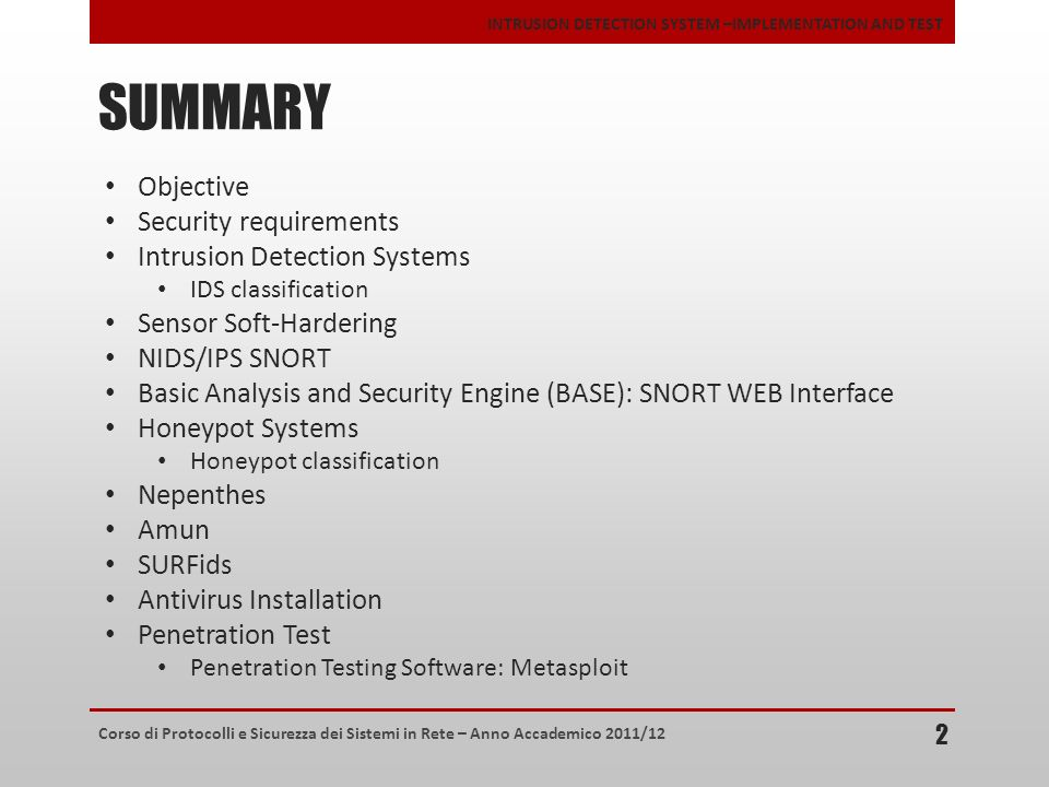 SUMMARY Objective Security requirements Intrusion Detection Systems