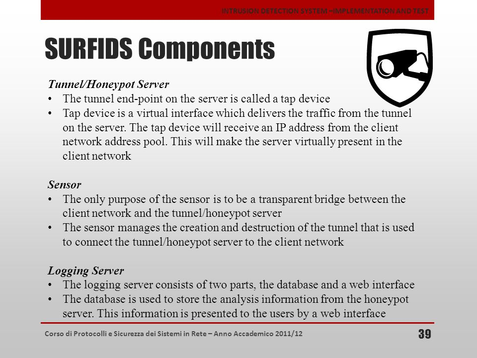 SURFIDS Components Tunnel/Honeypot Server