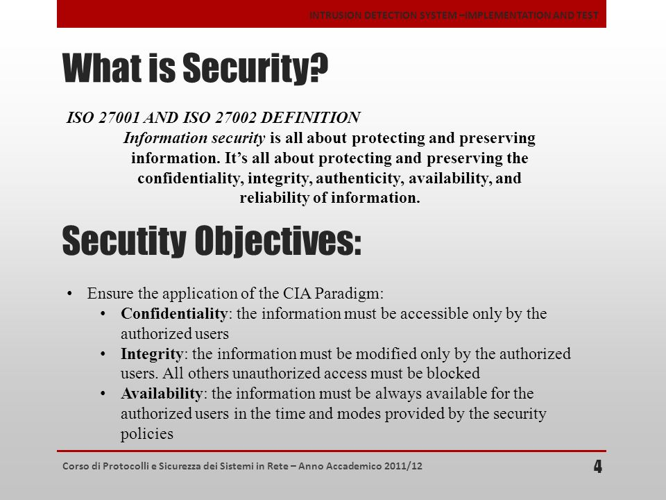 What is Security Secutity Objectives: