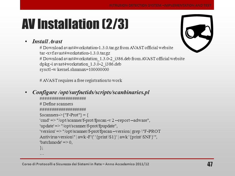 AV Installation (2/3) Install Avast
