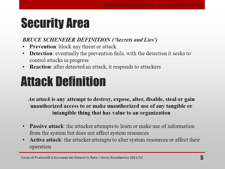 Security Area Attack Definition