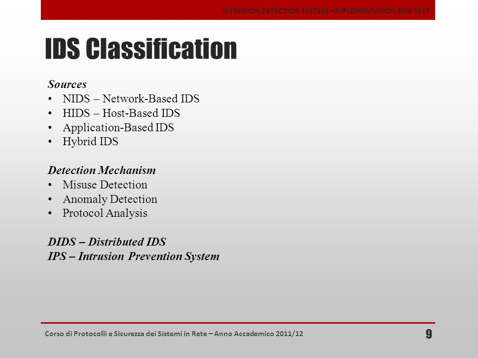 IDS Classification Sources NIDS – Network-Based IDS