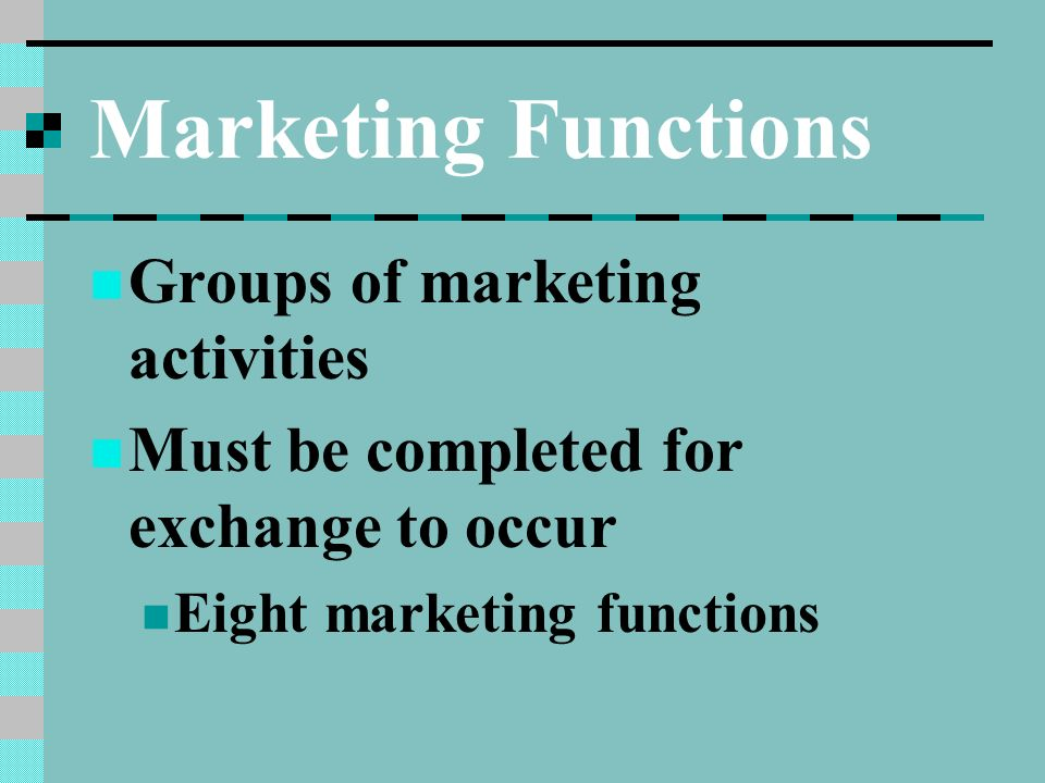 marketing function The 9 marketing functions the 9 marketing functions by: moritz greiss and kritin arya market planning identifying and understanding the markets a company wants to serve and developing effecting marketing strategies for each market.