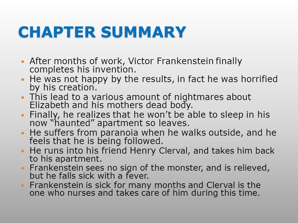frankenstein summary essay Frankenstein plot summary frankenstein is the tragedy of the intellectual, victor frankenstein, and how in his plight for the creation of life, he ends up losing everything that means anything to him.