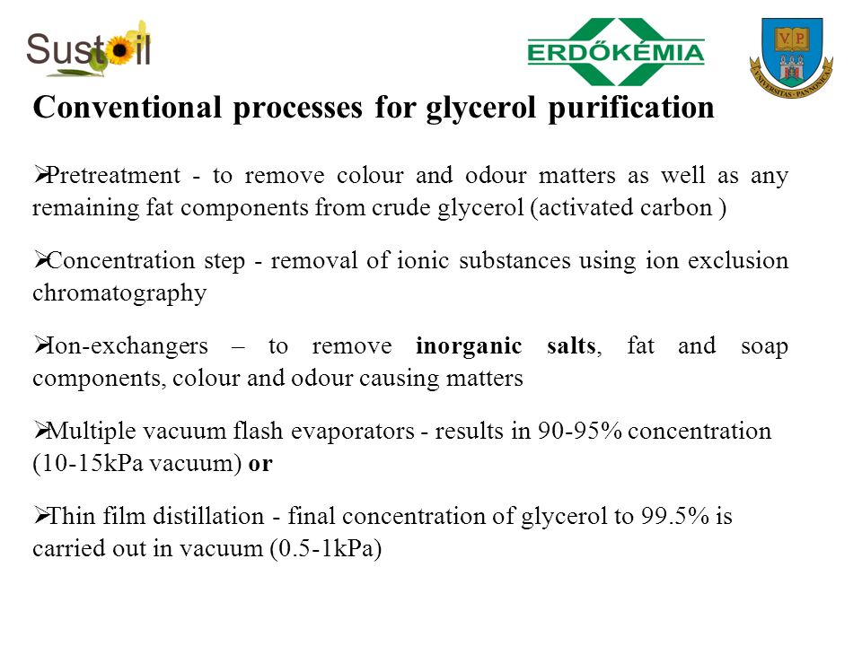 Conventional processes for glycerol purification