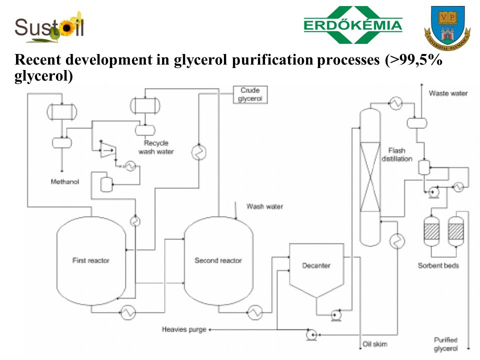 Recent development in glycerol purification processes (>99,5% glycerol)