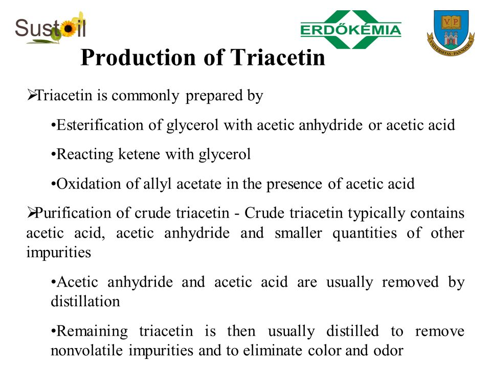 Production of Triacetin