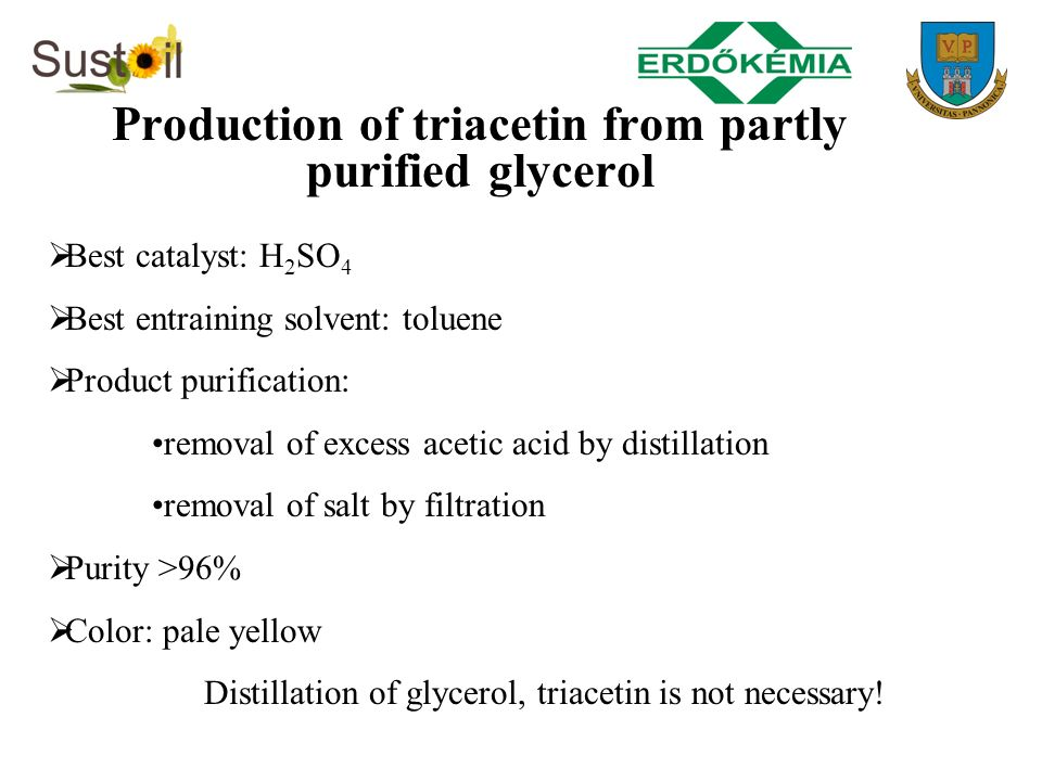 Production of triacetin from partly purified glycerol