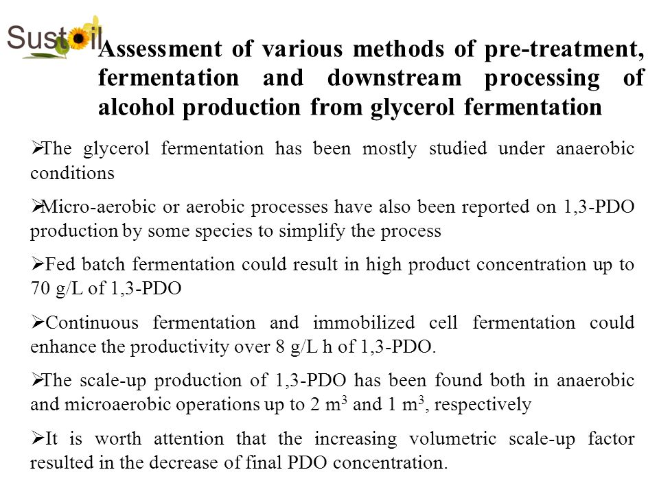 Assessment of various methods of pre-treatment, fermentation and downstream processing of alcohol production from glycerol fermentation