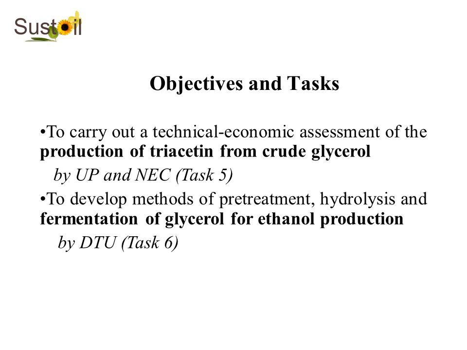 Objectives and Tasks To carry out a technical-economic assessment of the production of triacetin from crude glycerol.