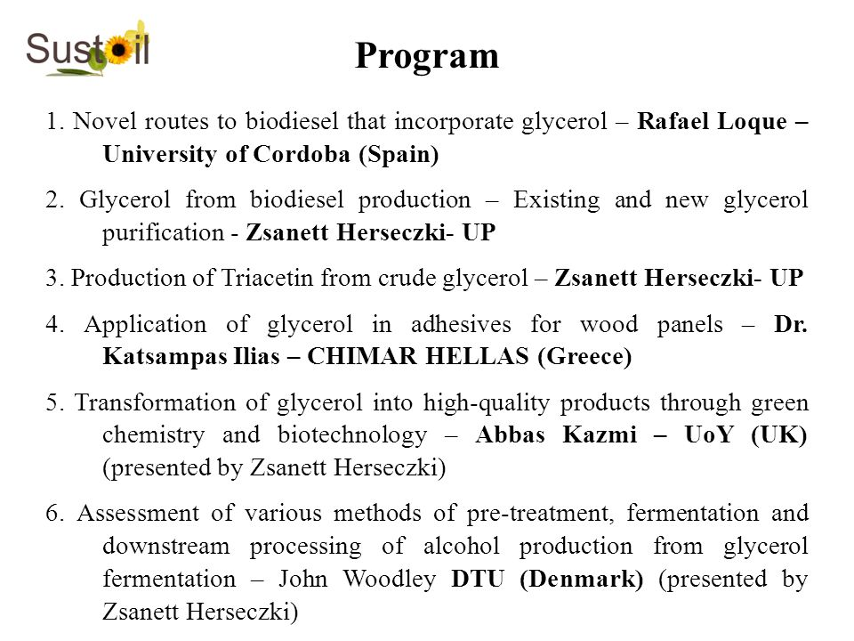 Program 1. Novel routes to biodiesel that incorporate glycerol – Rafael Loque – University of Cordoba (Spain)
