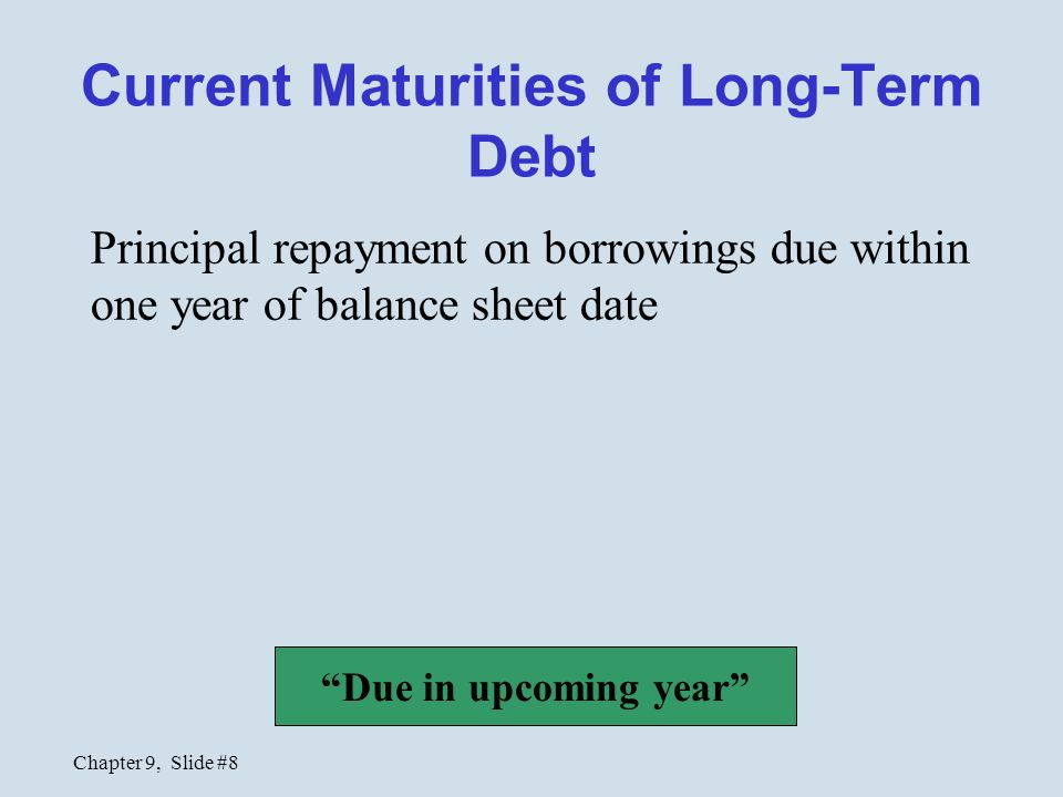 Current maturities of long term debt cash flow statement