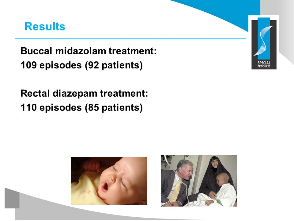 Results Buccal midazolam treatment: 109 episodes (92 patients) Rectal diazepam treatment: 110 episodes (85 patients)
