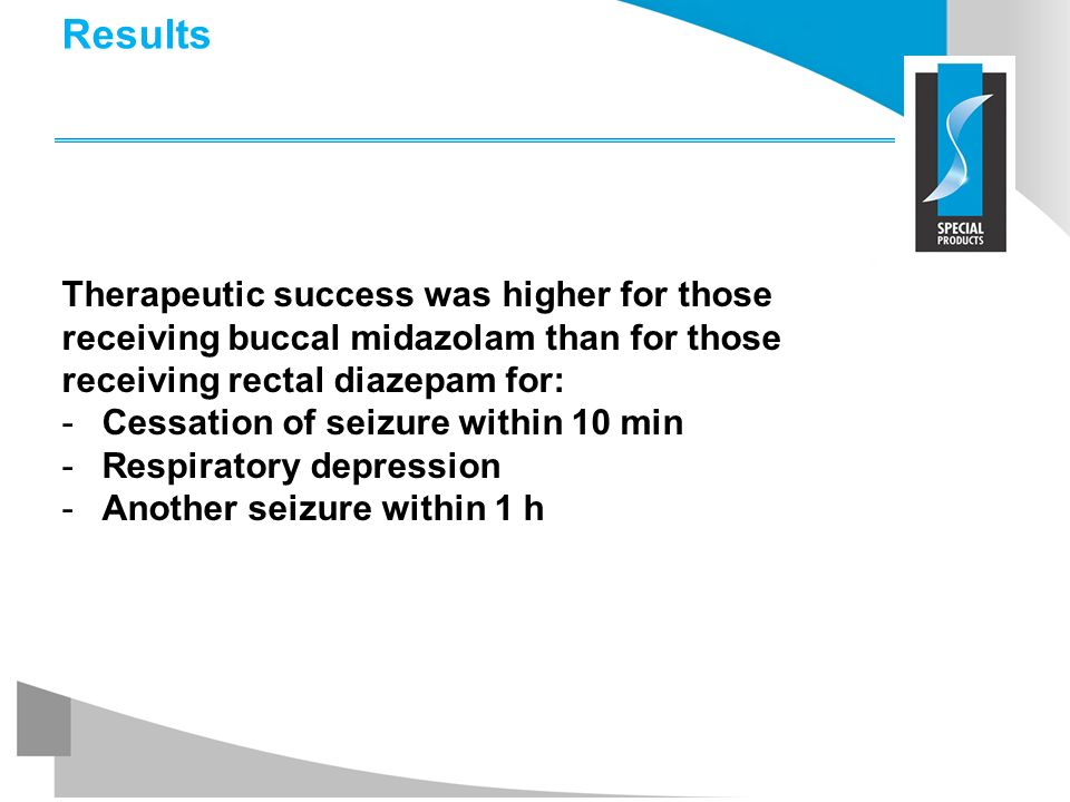 Results Therapeutic success was higher for those receiving buccal midazolam than for those receiving rectal diazepam for: