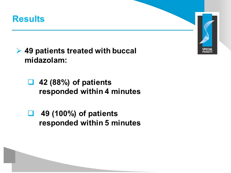Results 49 patients treated with buccal midazolam: