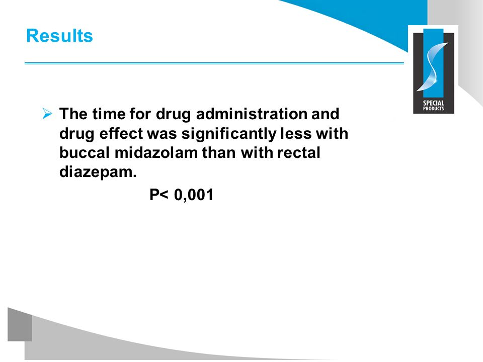 Results The time for drug administration and drug effect was significantly less with buccal midazolam than with rectal diazepam.