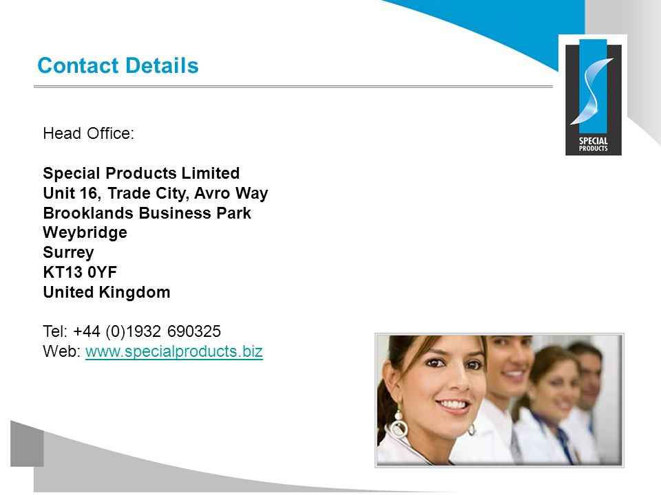 Contact Details Head Office: Special Products Limited