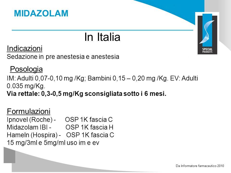 In Italia Posologia MIDAZOLAM Indicazioni Formulazioni