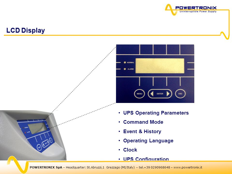 LCD Display UPS Operating Parameters Command Mode Event & History