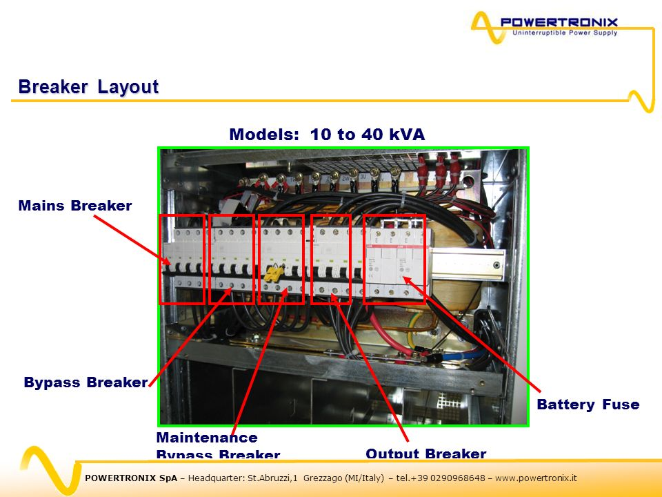 Breaker Layout Models: 10 to 40 kVA Mains Breaker Bypass Breaker