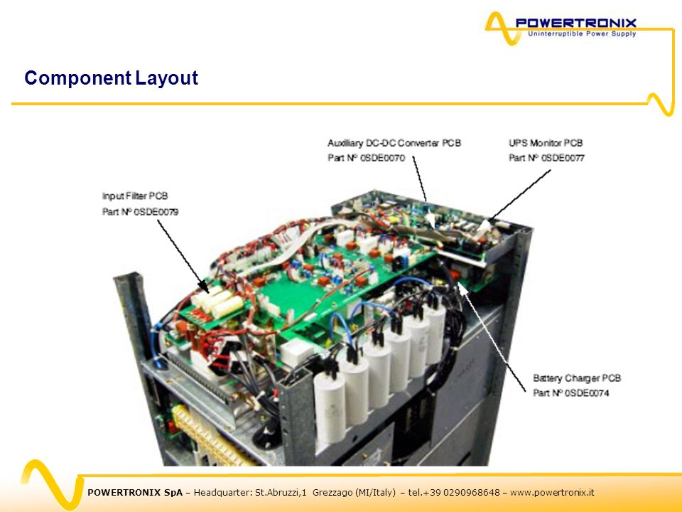 Component Layout POWERTRONIX SpA – Headquarter: St.Abruzzi,1 Grezzago (MI/Italy) – tel.+39 0290968648 – www.powertronix.it.