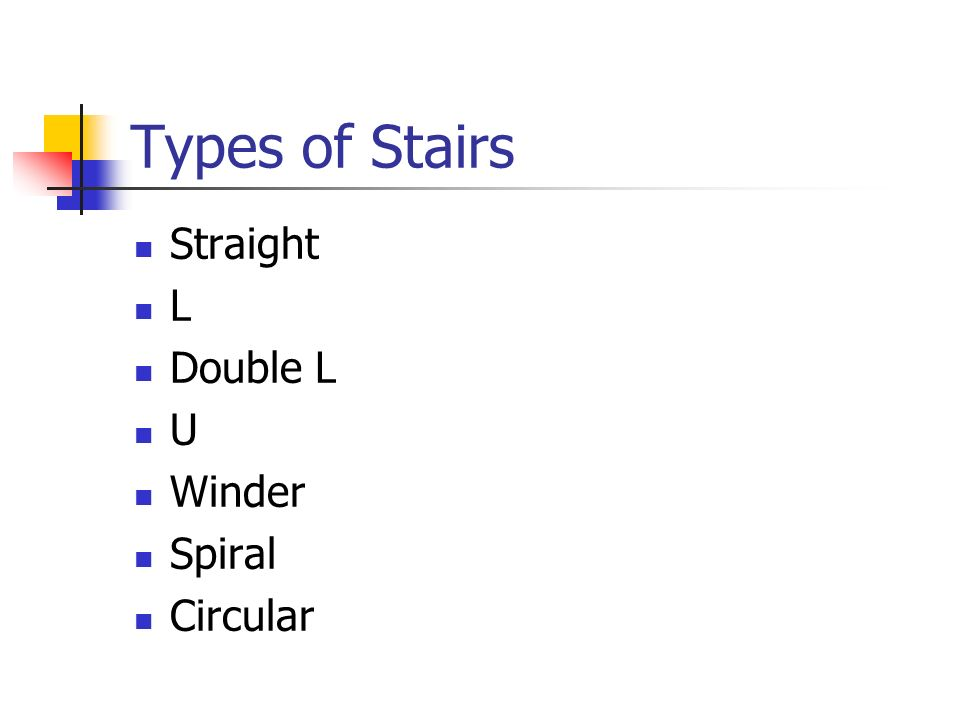 Types of Stairs Straight L Double L U Winder Spiral Circular
