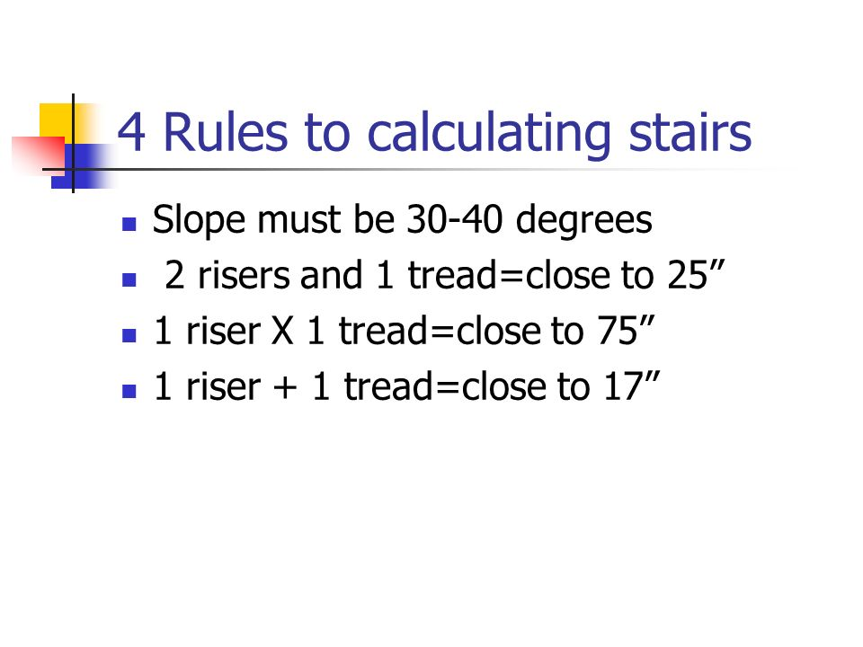 4 Rules to calculating stairs