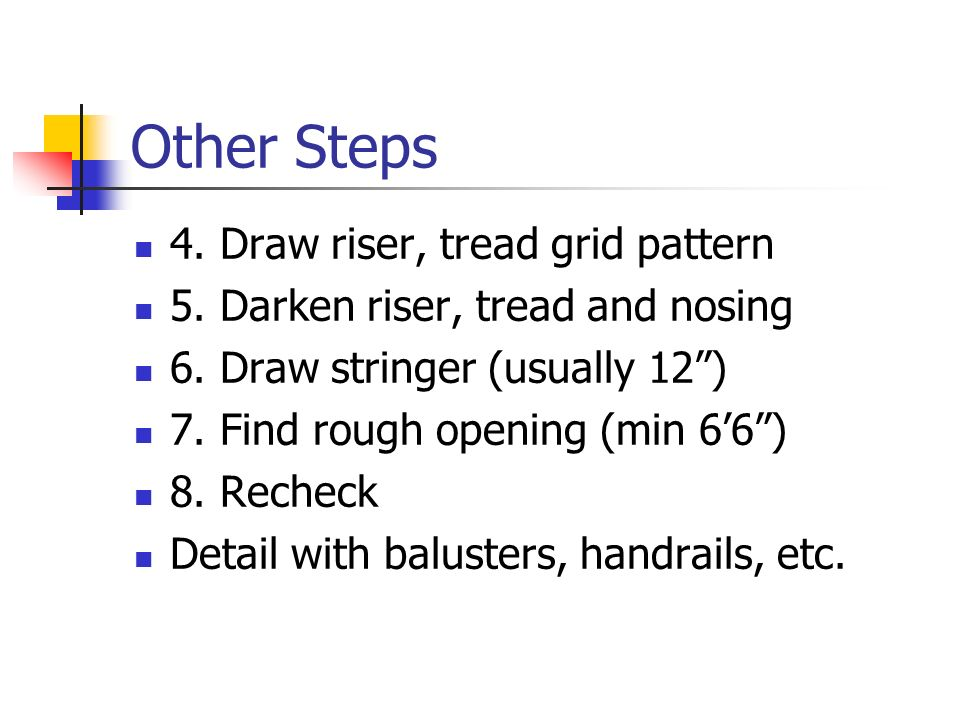Other Steps 4. Draw riser, tread grid pattern