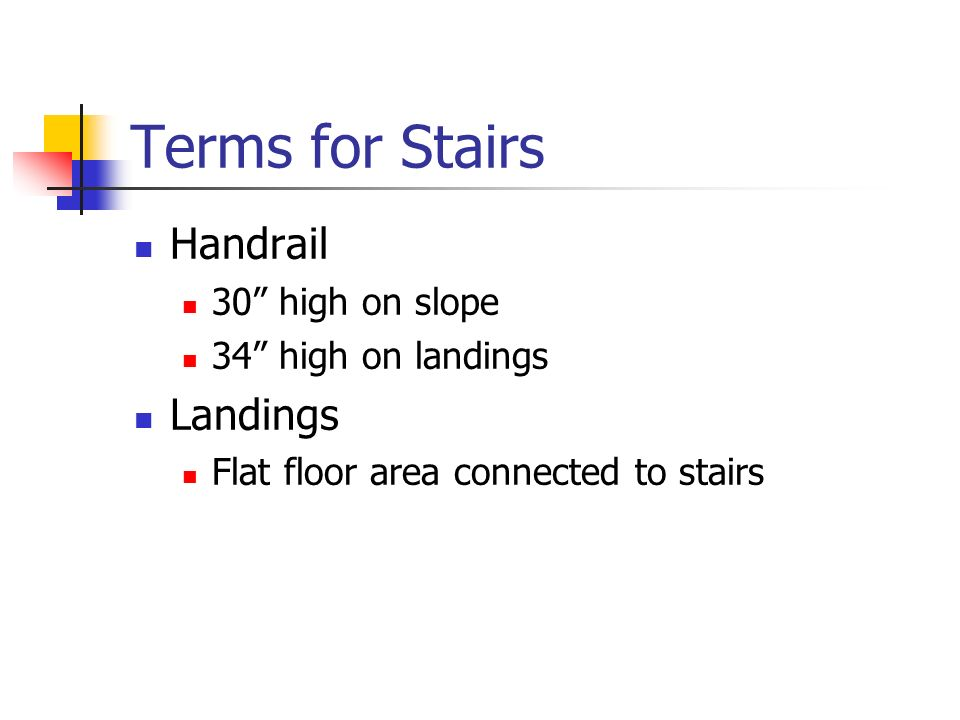 Terms for Stairs Handrail Landings 30 high on slope