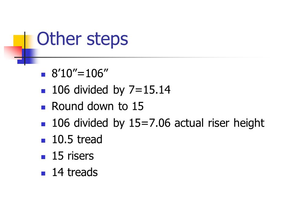 Other steps 8'10 =106 106 divided by 7=15.14 Round down to 15