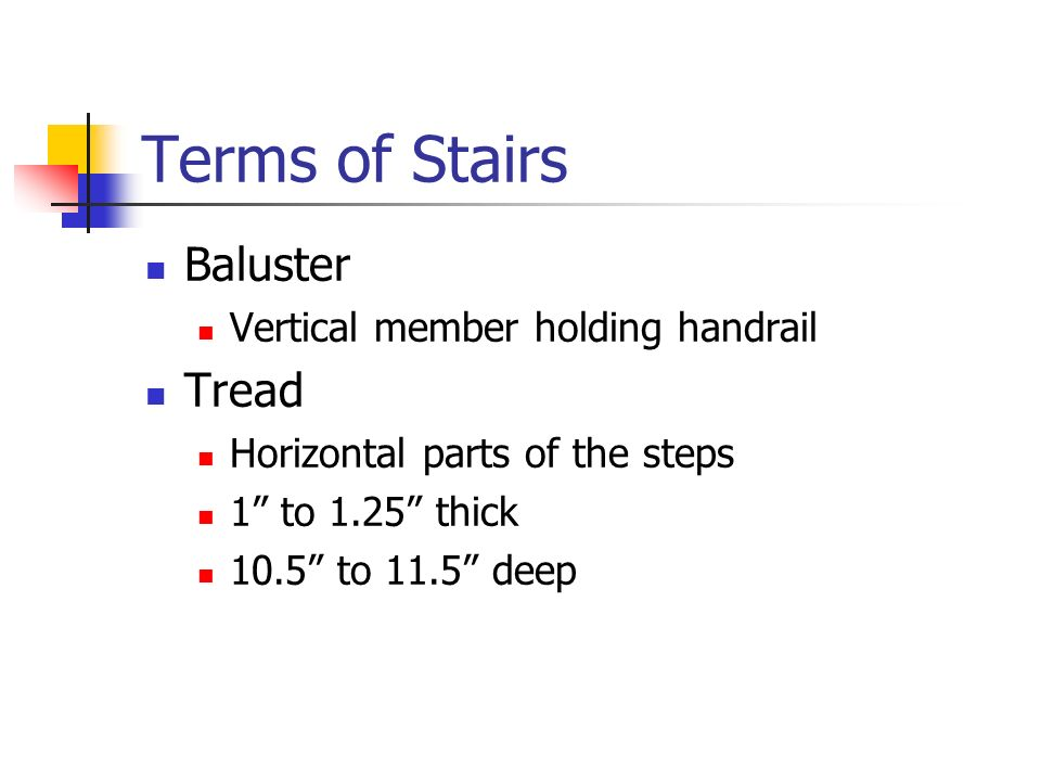 Terms of Stairs Baluster Tread Vertical member holding handrail