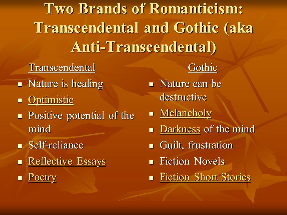 american r ticism ppt  two brands of r ticism transcendental and gothic aka anti transcendental