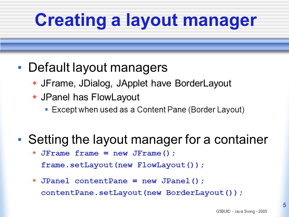 Java Swing - Lecture 3 Layout Management - ppt video