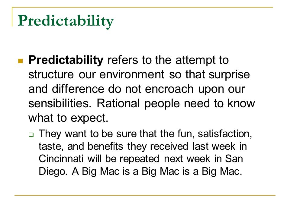 benefits of ritzer mcdonaldization According to george ritzer, rationalization is growing out of control ritzer also describes the precedents set in the economy that led up to mcdonaldization first our pursuit of the benefits that arrive with newfound technologies based on scientific principles seems irrevocably linked to the depths of the evils that plague.