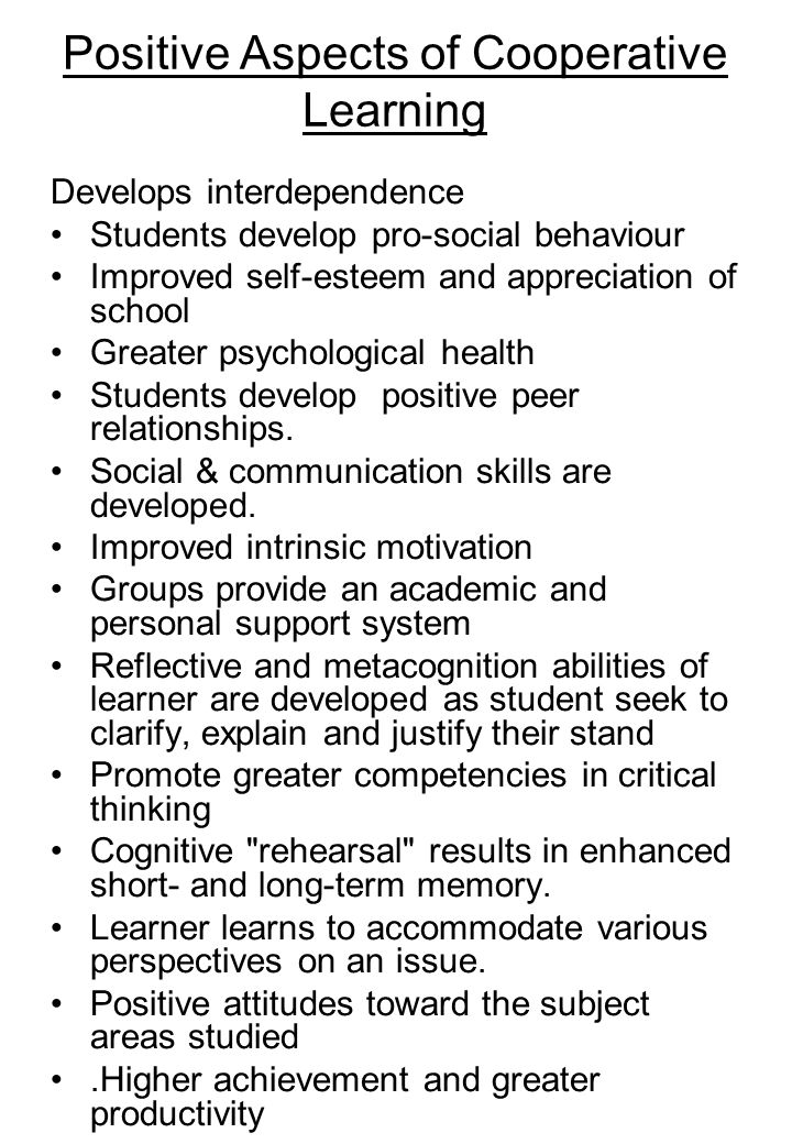Positive Aspects of Cooperative Learning