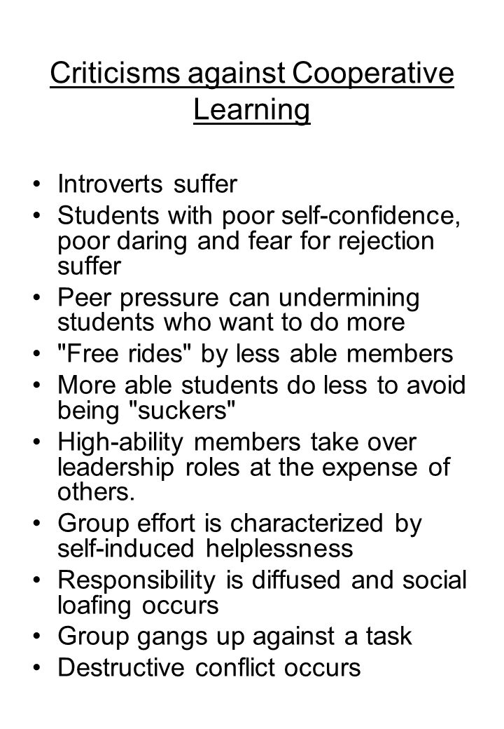Criticisms against Cooperative Learning