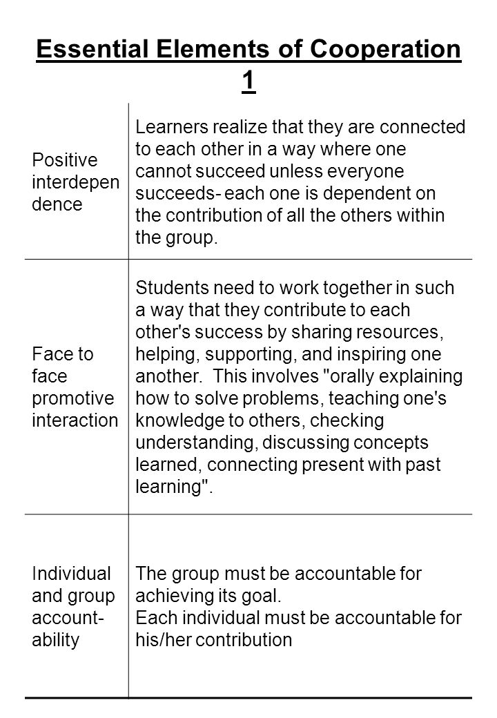 Essential Elements of Cooperation 1