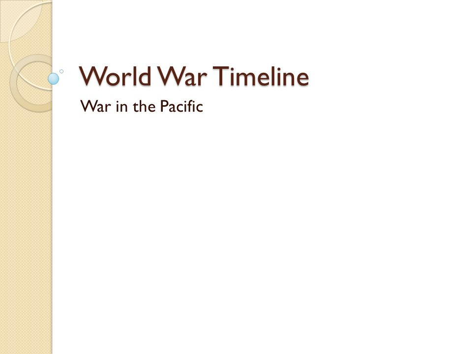 World War Timeline War in the Pacific