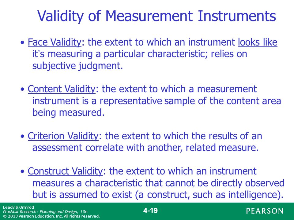 validation of research instrument thesis To establish criterion validity would require further research face validity   experts in the field can determine if an instrument satisfies this requirement c ontent.