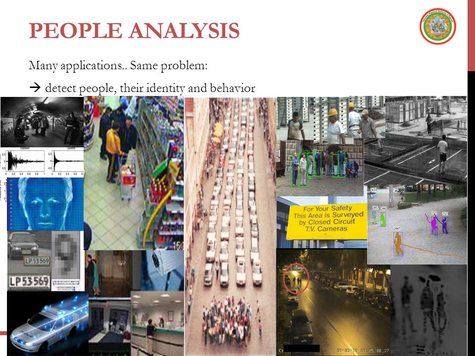 People ANALYSIS Many applications.. Same problem:  detect people, their identity and behavior
