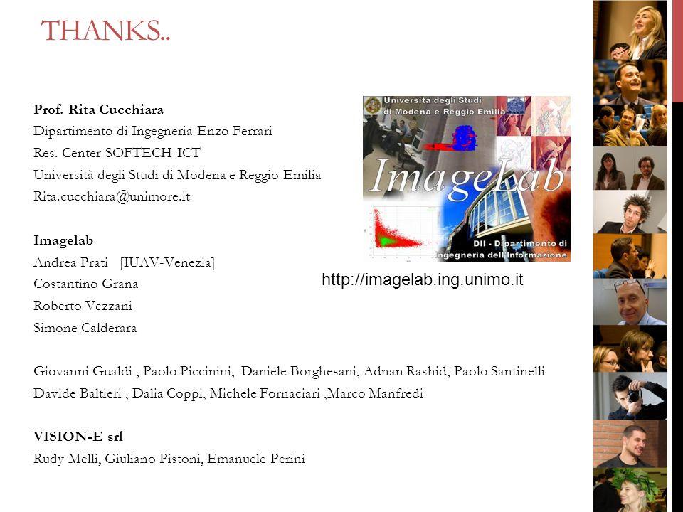 THANKS.. http://imagelab.ing.unimo.it Prof. Rita Cucchiara