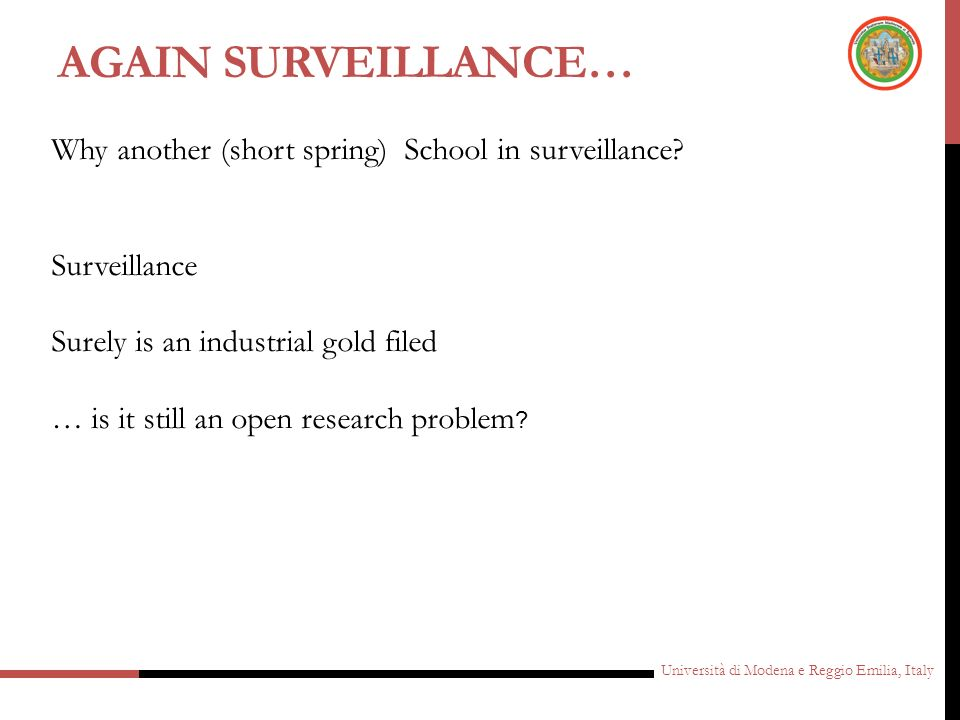 Again Surveillance… Why another (short spring) School in surveillance