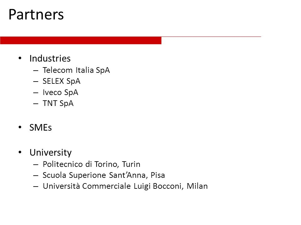 Partners Industries SMEs University Telecom Italia SpA SELEX SpA