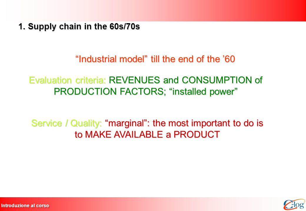 Industrial model till the end of the '60