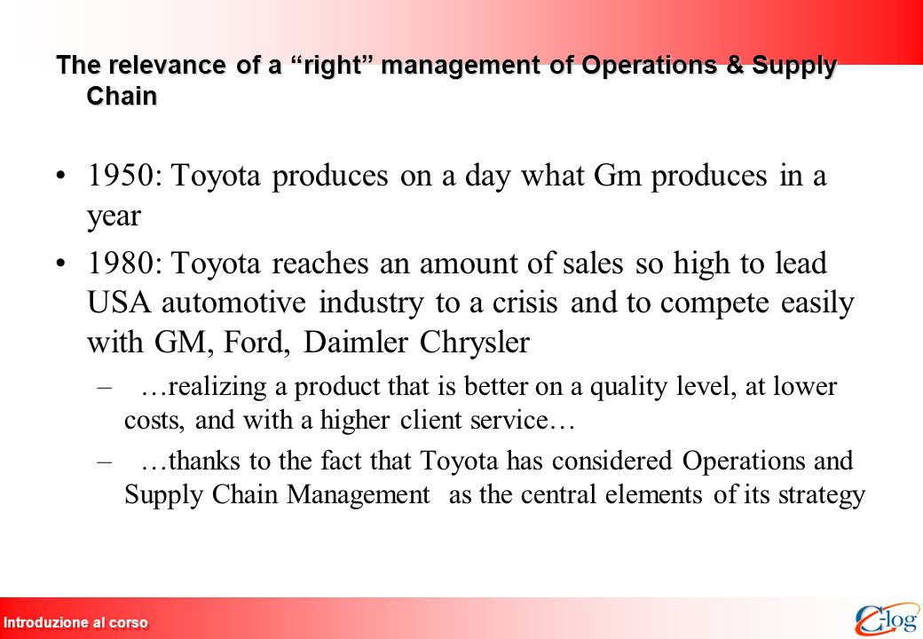 The relevance of a right management of Operations & Supply Chain