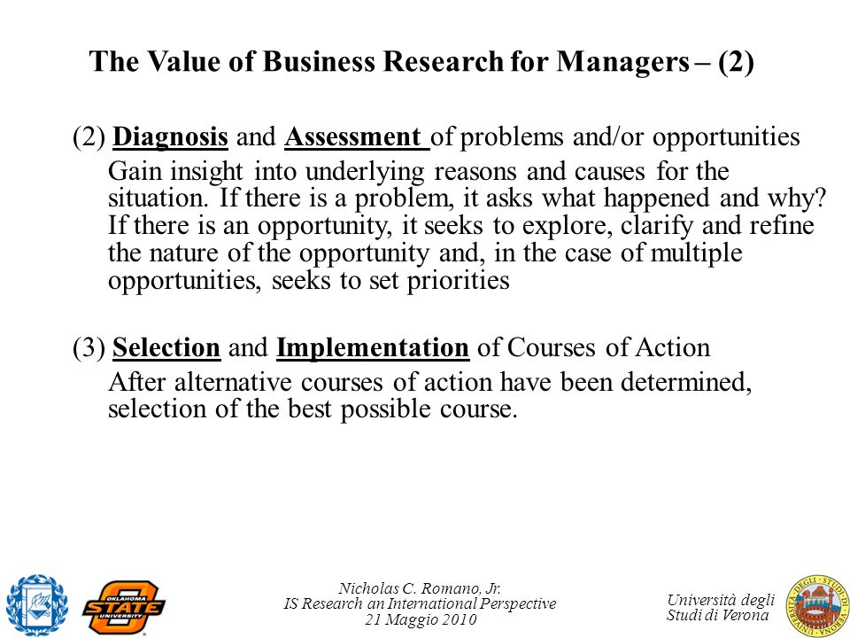 The Value of Business Research for Managers – (2)